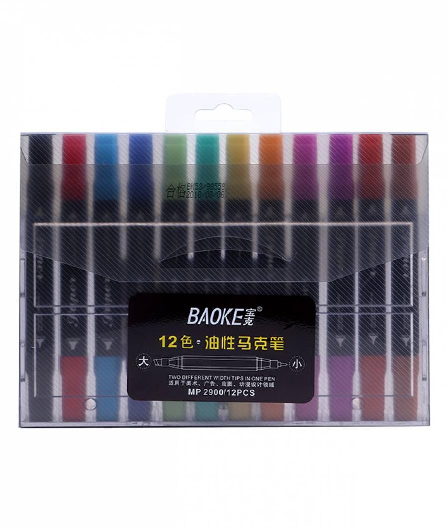 Markere ARTISTI BAOKE 2vf 5-1mm ulei 12culori  MIXT