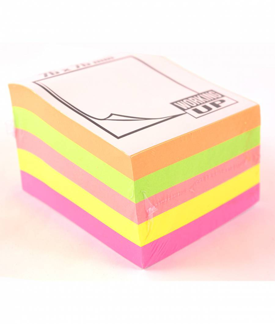 Cub notes adeziv culori Neon 76X76 mm 500 coli, W-UP