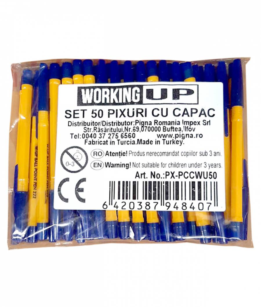 Pix WUP unica folosinta cu capac, mina albastra , ambalat 50 in punga