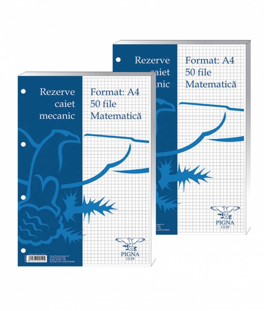 Rezerve caiet mecanic, A4, matematica, 50file alb